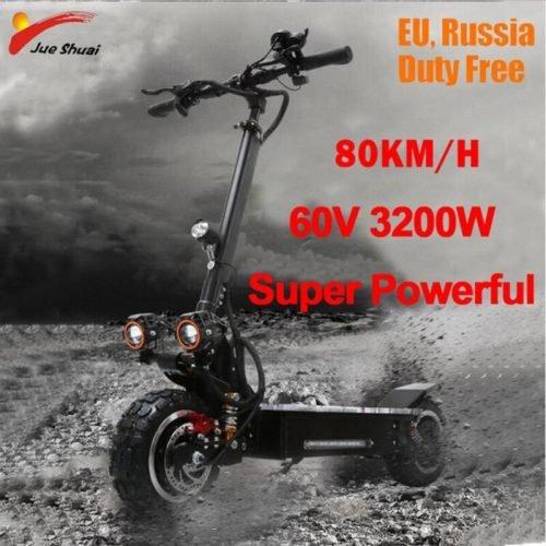 3200 W 60 V 80 KM/H scooter Eléctrico 11 pulgadas fuera de carretera adolescentes plegable impermeable Samsung e scooter potente...