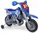 FEBER- Cross X Moto con Motor y batería de 6 v y Casco, Color Negro, Azul, Plata