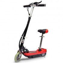 vidaXL Patinete eléctrico con asiento 120W Rojo Scooter Monopatín